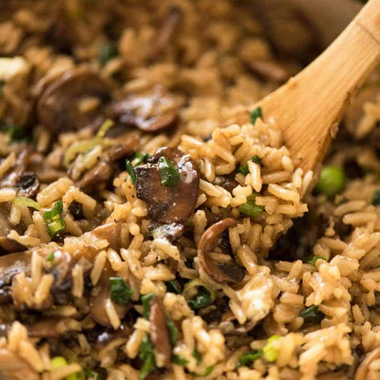 Close up of Mushroom Rice recipe in a pot, fresh off the stove