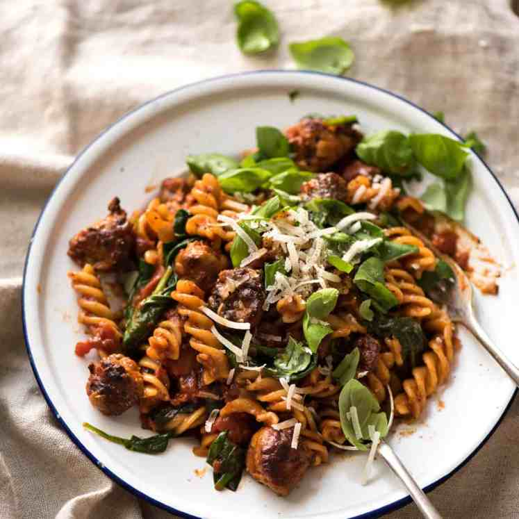 A quick and easy Sausage Pasta made using chopped up Italian sausages that look like meatballs! recipetineats.com