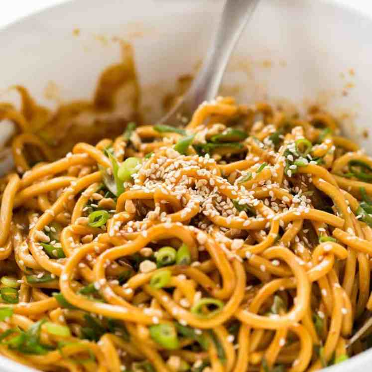 Sesame Noodles - noodles tossed with a wicked Asian Sesame Peanut Dressing. Serve these as Cold Sesame Noodles or warm. recipetineats.com