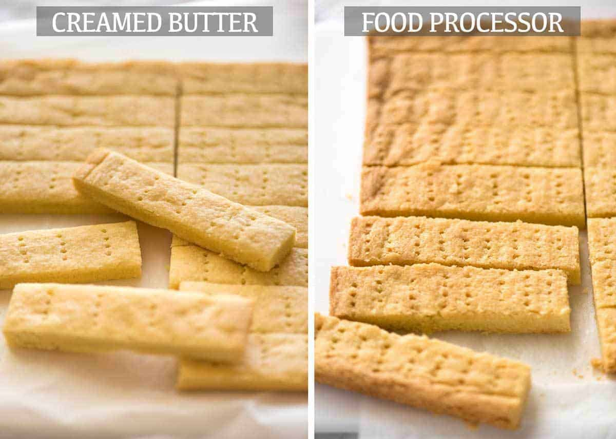 Shortbread Cookies - comparison of creamed butter vs food processor method. www.recipetineats.com