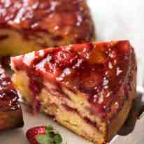 Upside Down Strawberry Cake - to say this is bursting with fresh strawberry flavours is an understatement! recipetineats.com