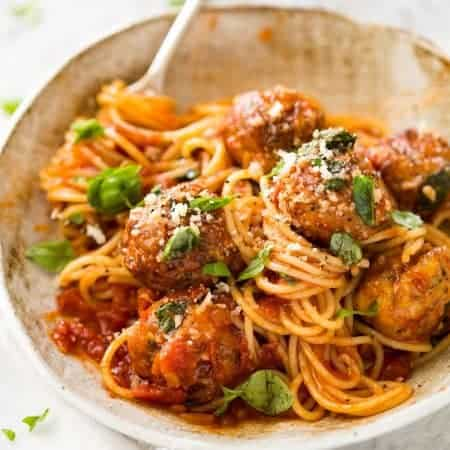Baked Chicken Meatballs and Spaghetti