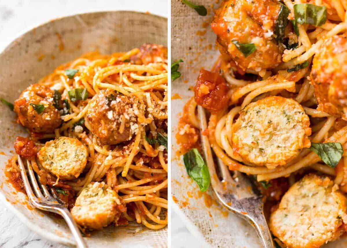 Plump, juicy BAKED Chicken Meatballs and Spaghetti! They come out golden brown on the outside, and so soft and juicy on the inside. recipetineats.com