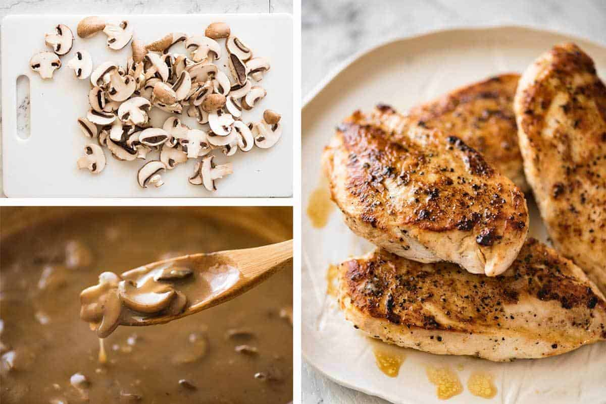 A fabulous quick midweek meal - juicy pan seared Chicken with Mushroom Gravy. recipetineats.com