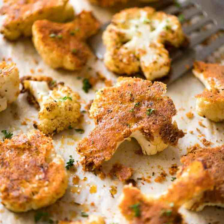 Try this Roasted Parmesan Crusted Cauliflower for dinner tonight! Serve it as a side or as a main meal, or how about as a healthy, low carb snack at a gathering? It's quick, easy and off-the-charts delicious! recipetineats.com