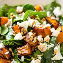 This Roast Pumpkin, Spinach and Feta Salad with a Honey Balsamic Dressing is a magical combination. Terrific side or as a meal. www.recipetineats.com