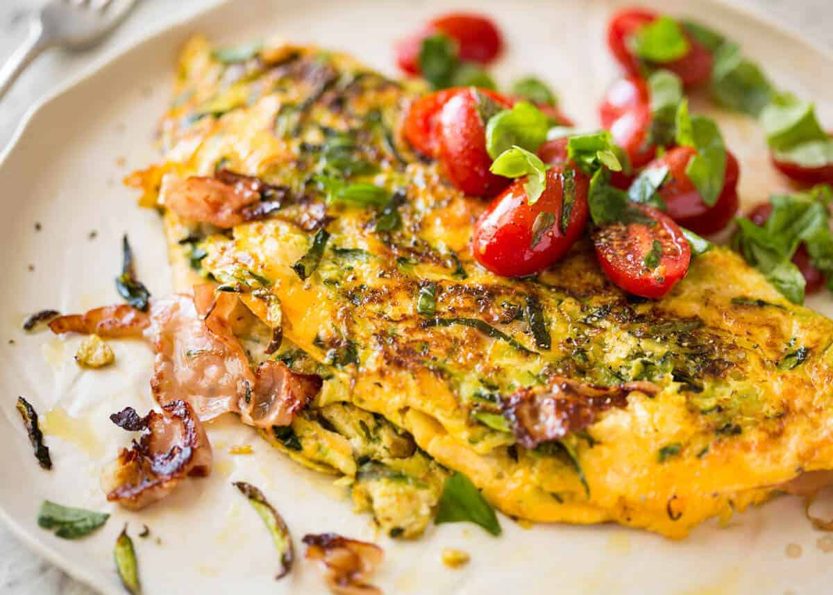 Ultra Lazy Zucchini Ham Cheese Omelette Recipetin Eats