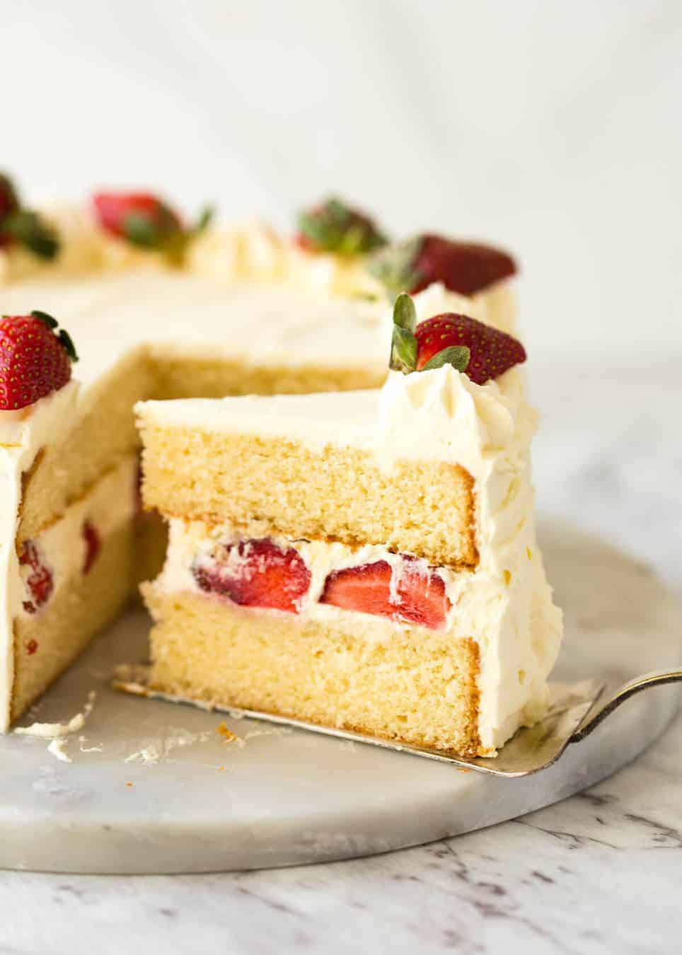 An exceptional, classic Vanilla Sponge Cake. Tender crumb, moist, keeps well for 3 days. A Cooks' Illustrated recipe. recipetineats.com