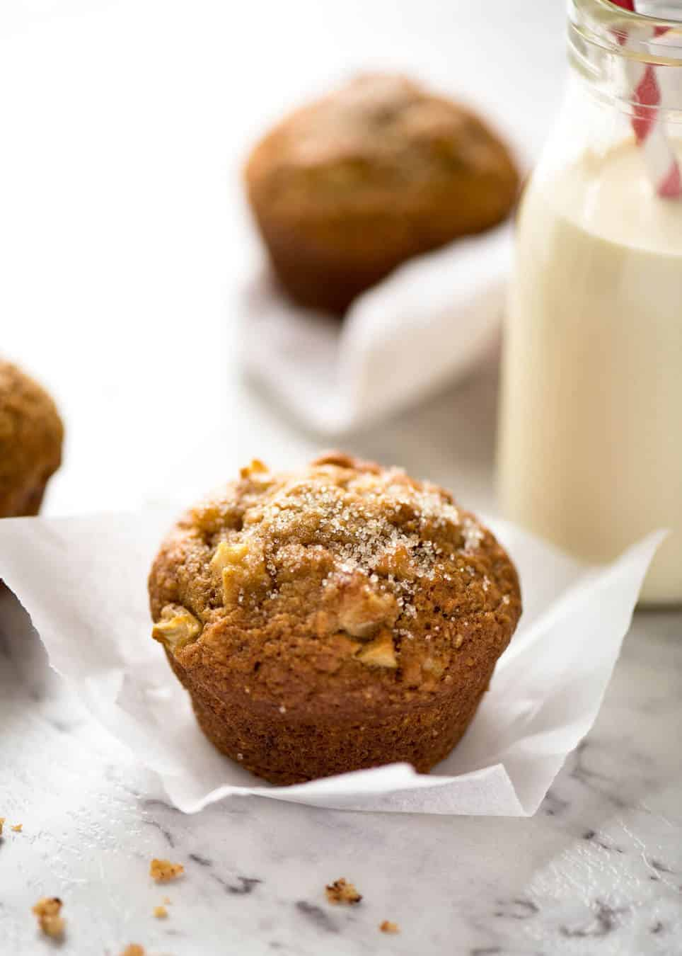 These Brown Sugar Apple Muffins are magical - made with pantry staples (no buttermilk or yoghurt), they stay moist for 4 - 5 days! www.recipetineats.com