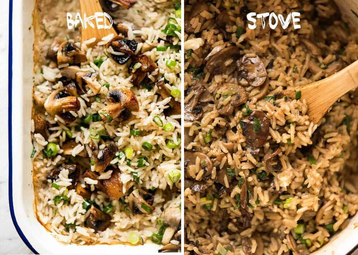 Baked versus Stove Top Mushroom Rice www.recipetineats.com