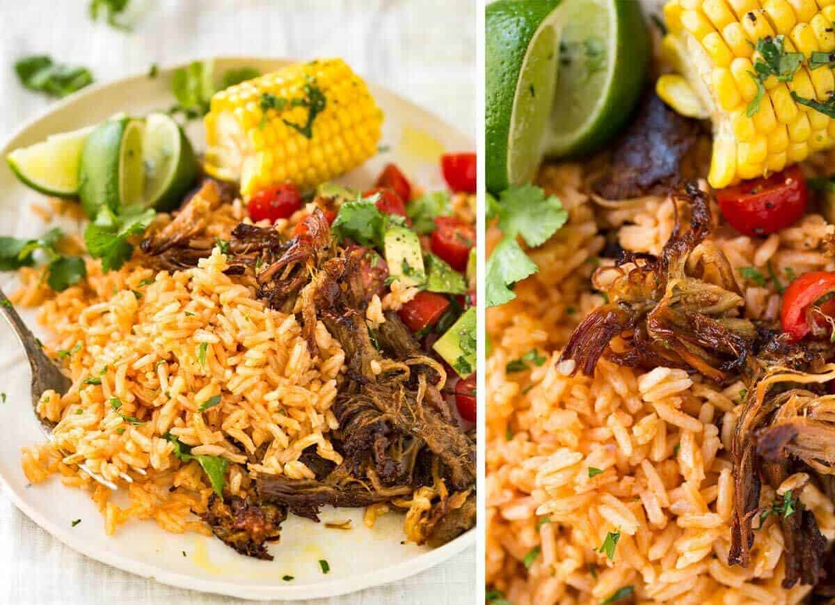 Mexican Red Rice and Pork Carnitas www.recipetineats.com