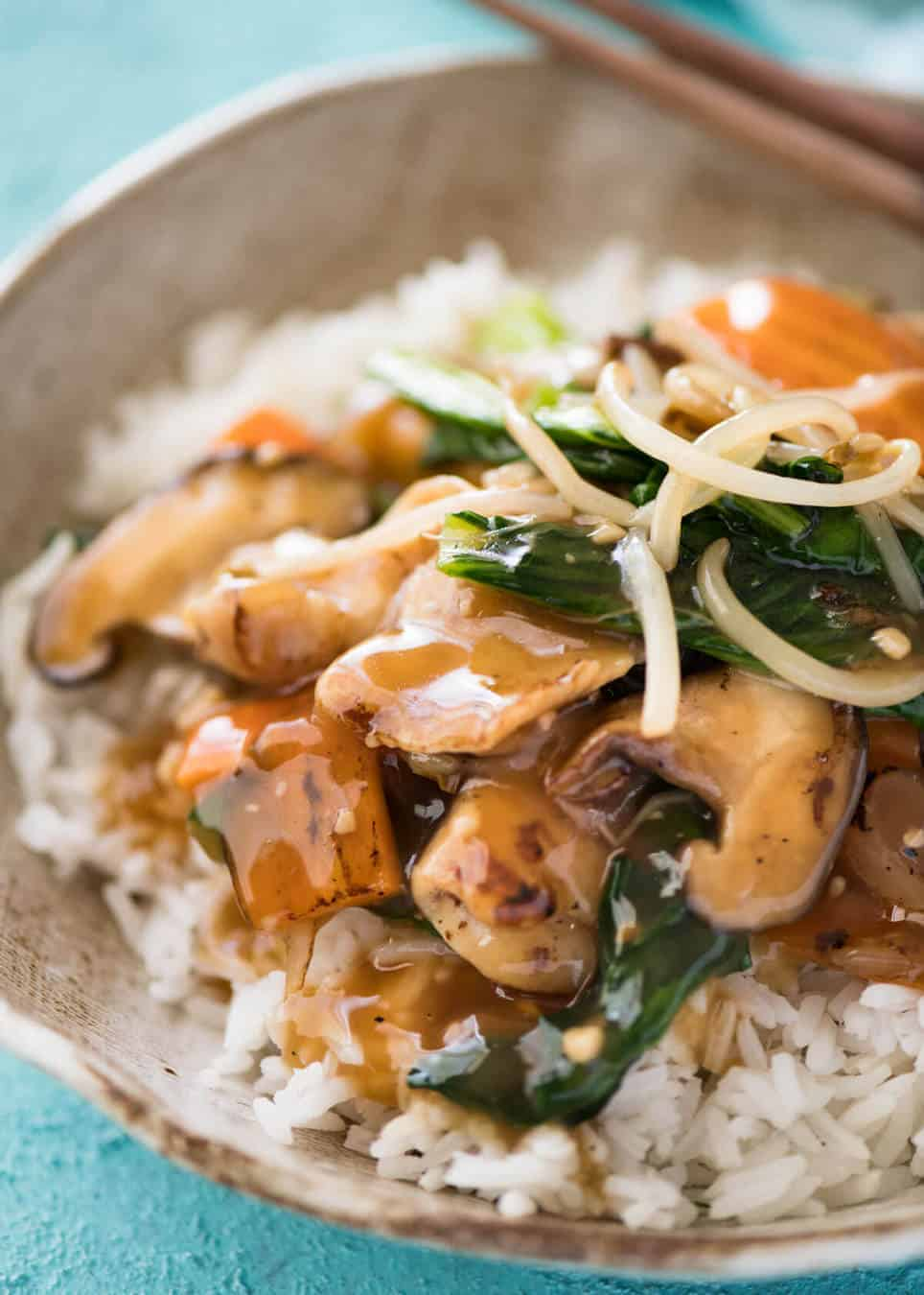 Close up of Chop Suey / Chicken Stir Fry on rice, ready to be eaten