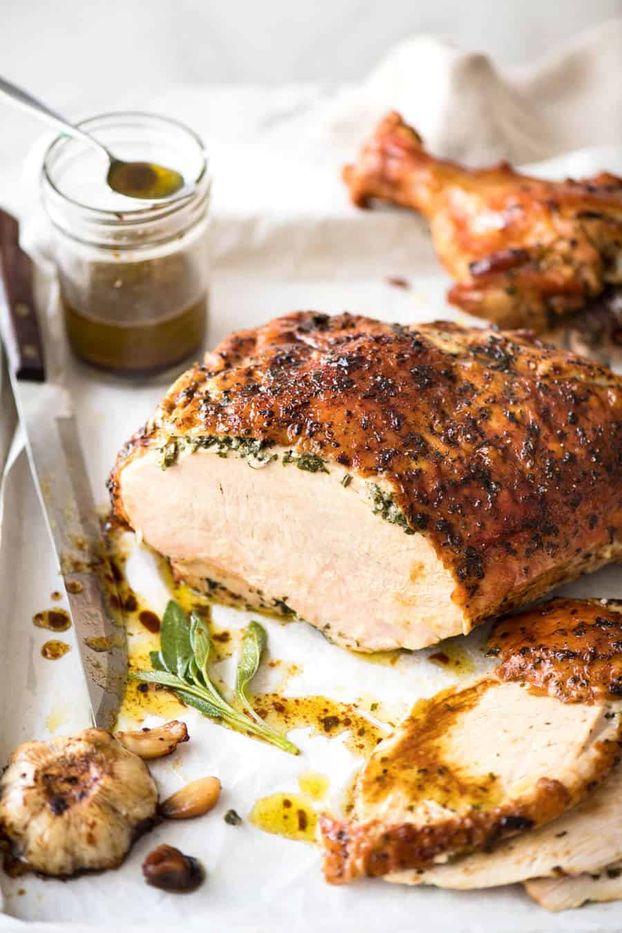 Garlic Herb Butter Roasted Turkey Breast with herb butter under the skin. Quick video tutorial provided. This is food so good, it will make you want to cry! recipetineats.com