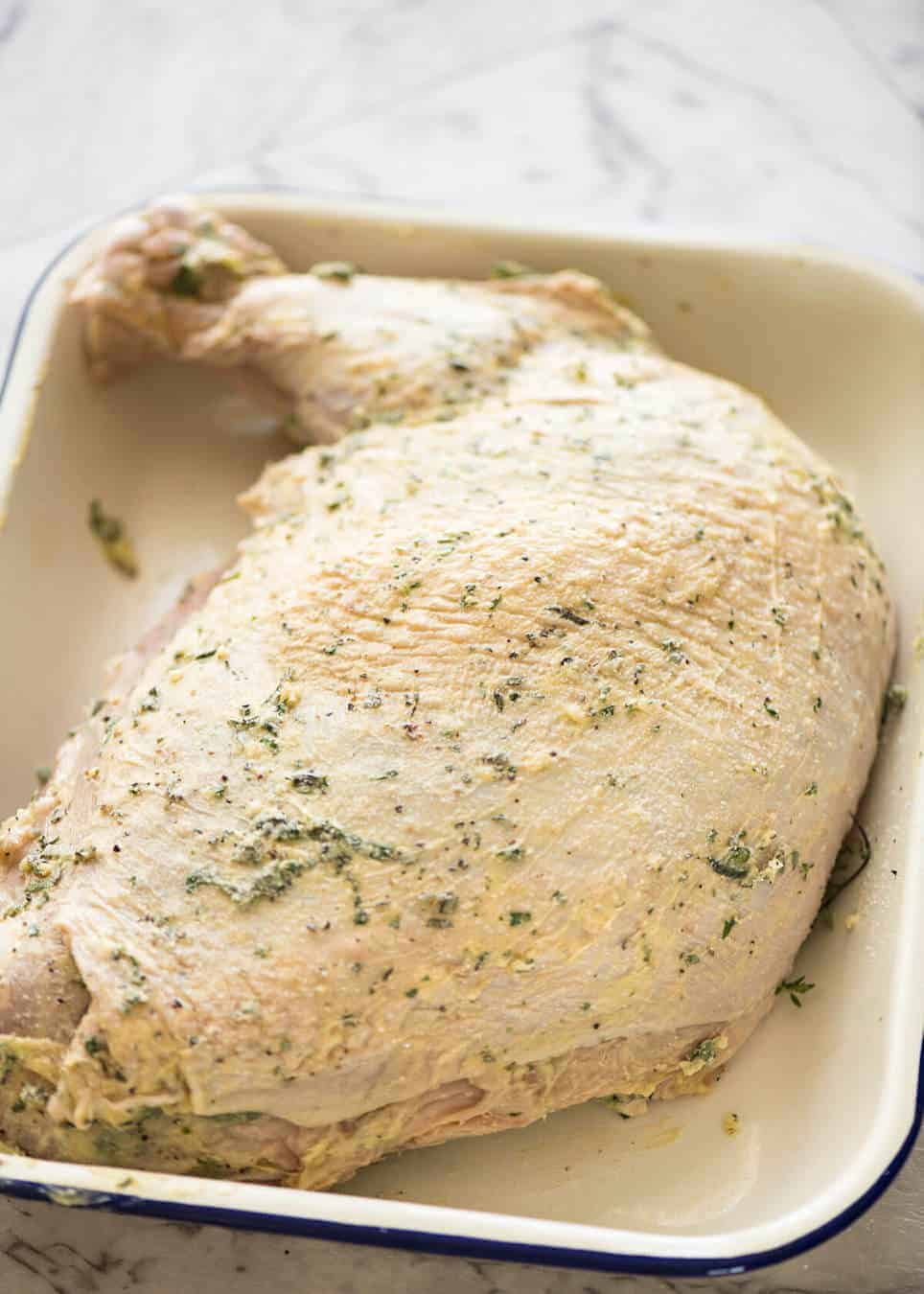 How to make turkey with herb butter under the skin (quick video tutorial provided) www.recipetineats.com