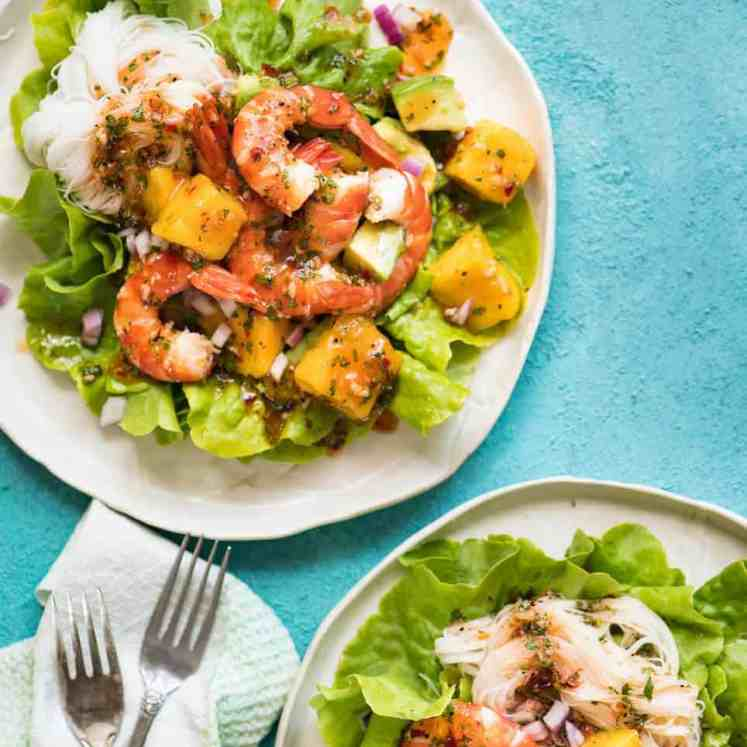 This Prawn Mango and Avocado Salad with Noodles is perfect for balmy summer days. Great no cook meal! recipetineats.com