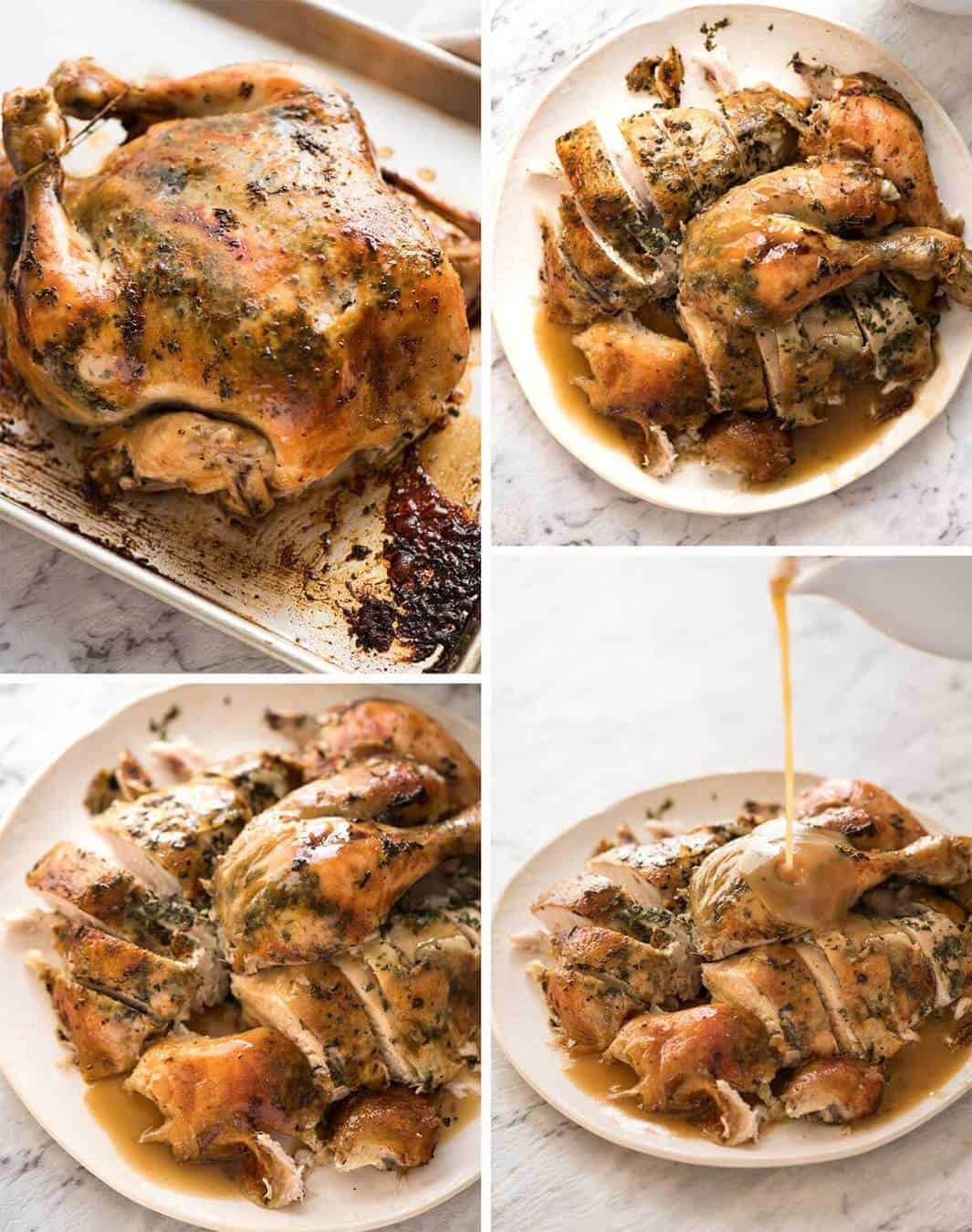 Slow Cooker Garlic Herb Butter Roast Chicken - garlic herb butter slathered under the skin, then slow cooked to perfection, accompanied with a stunning BUTTER GRAVY! www.recipetineats.com