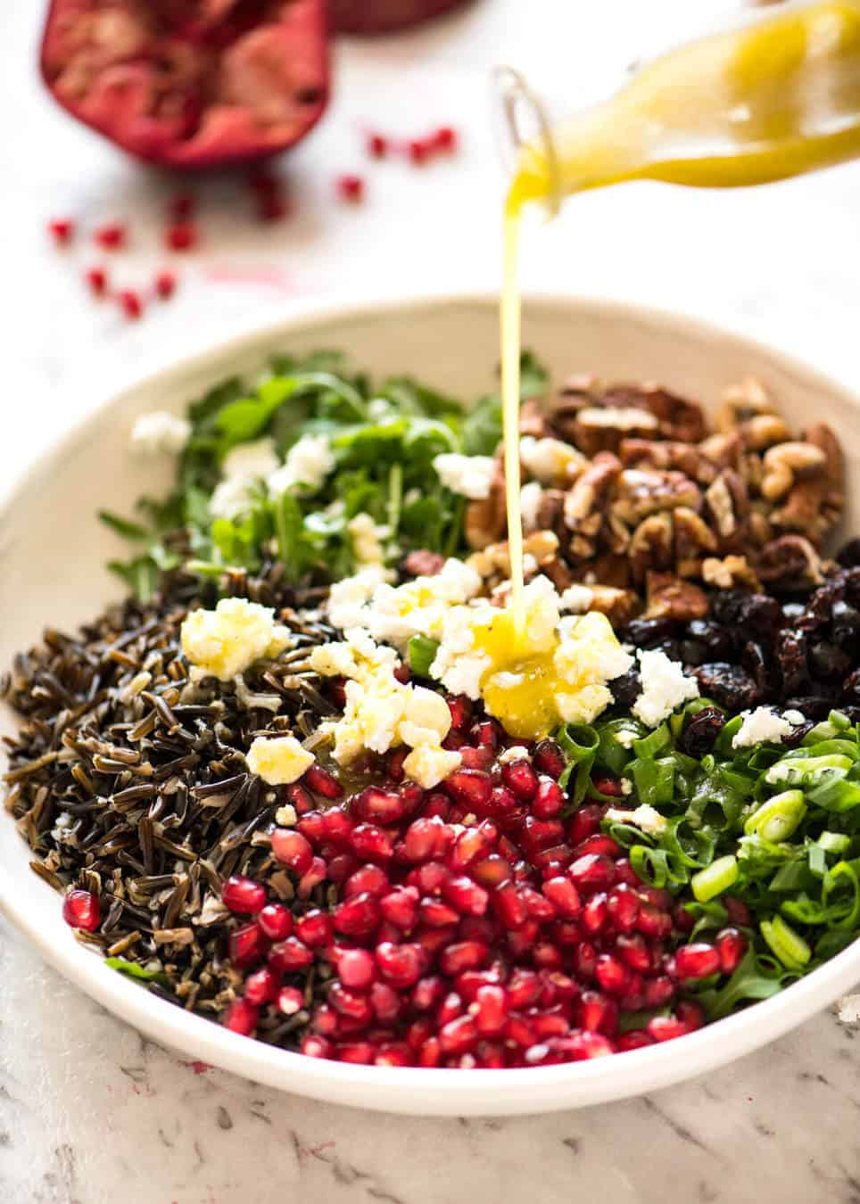 A simple white wine vinaigrette is the perfect Wild Rice Salad dressing. recipetineats.com