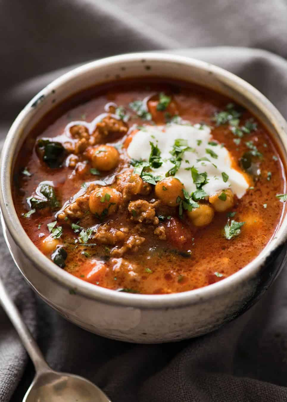A chickpea soup exploding with flavour! Tastes like Chicken Shawarma in soup form with lamb, quick to make, nutritious and filling. recipetineats.com