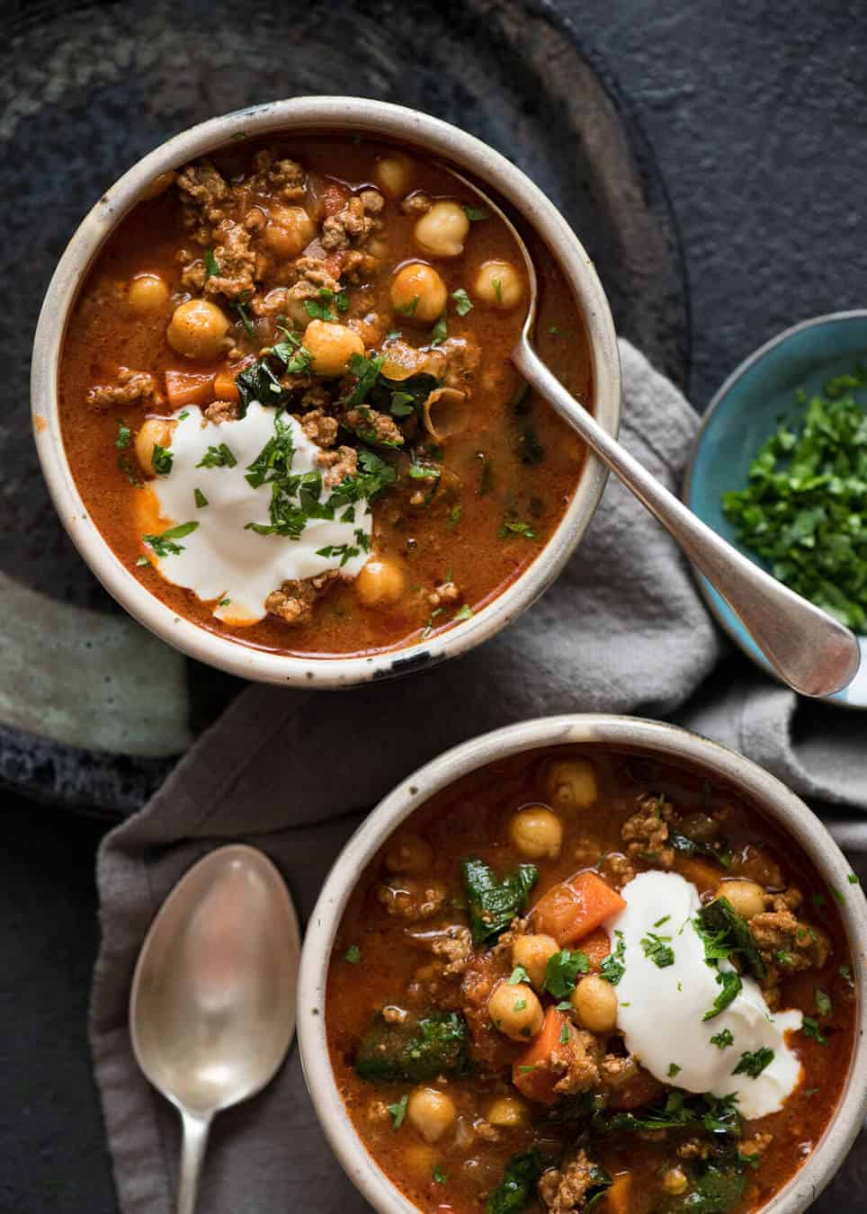 A chickpea soup exploding with flavour! Tastes like Chicken Shawarma in soup form with lamb, quick to make, nutritious and filling. www.recipetineats.com