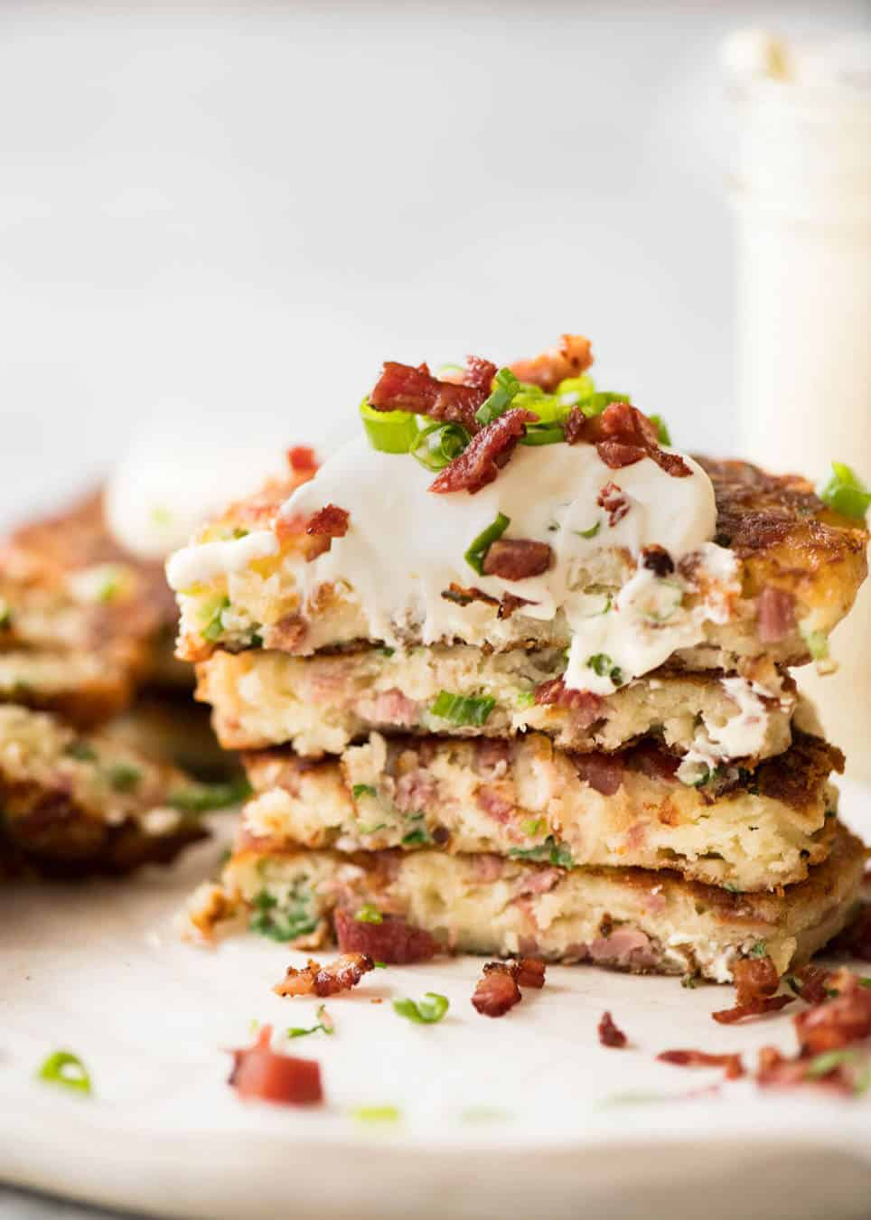Cheese and Ham Pancakes - golden crispy cheesy outsides, fluffy insides with pops of ham (or bacon). These are epic! www.recipetineats.com