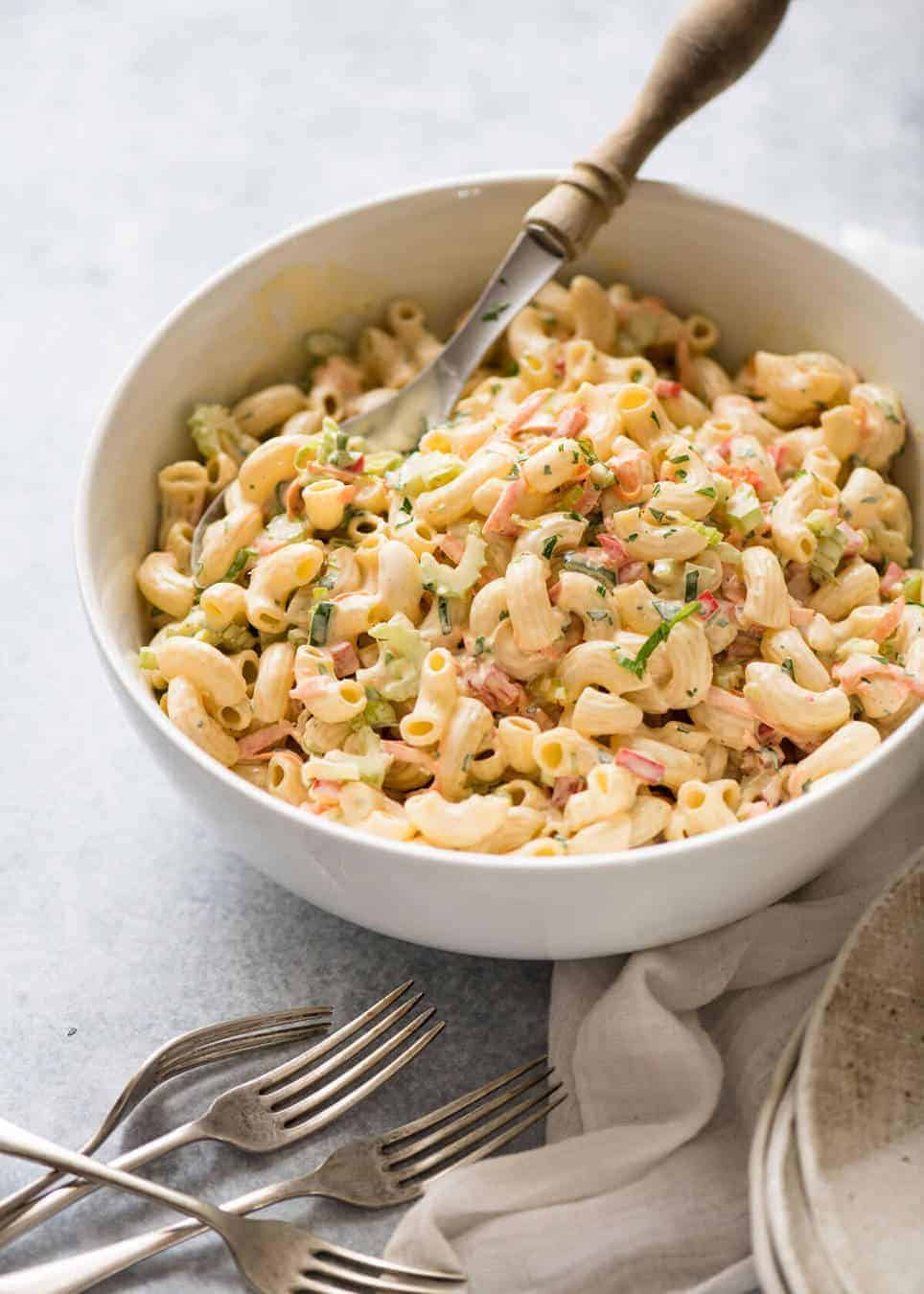 More and more mayo is not the way to a great Macaroni Pasta. Salted cooking water is! www.recipetineats.com