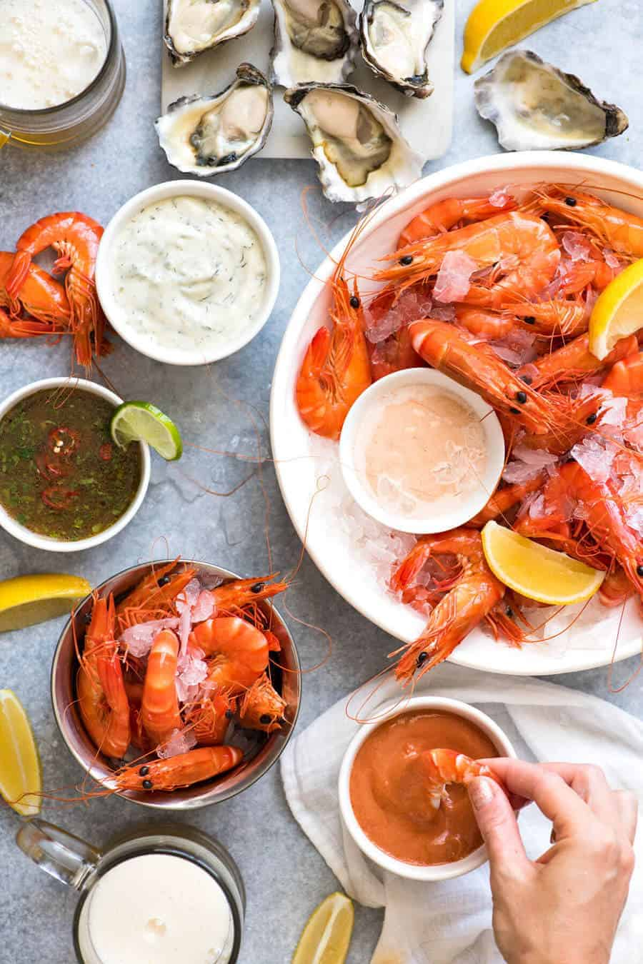 5 great Prawn Dipping Sauces: Cocktail / Seafood Sauce, Tartare, Marie Rose / Thousand Island, or a Thai Chilli Lime Sauce for something fresher. www.recipetineats.com