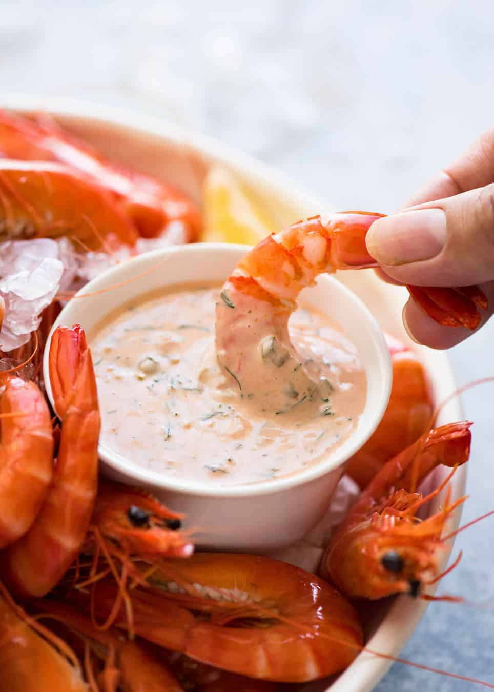 Our favourite Dipping Sauce for Prawns (Shrimp), essentially a jacked up Marie Rose / Thousand Island sauce. www.recipetineats.com