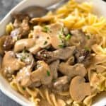 Beef Storganoff - A retro favourite made with juicy beef smothered in a creamy mushroom gravy. www.recipetineats.com