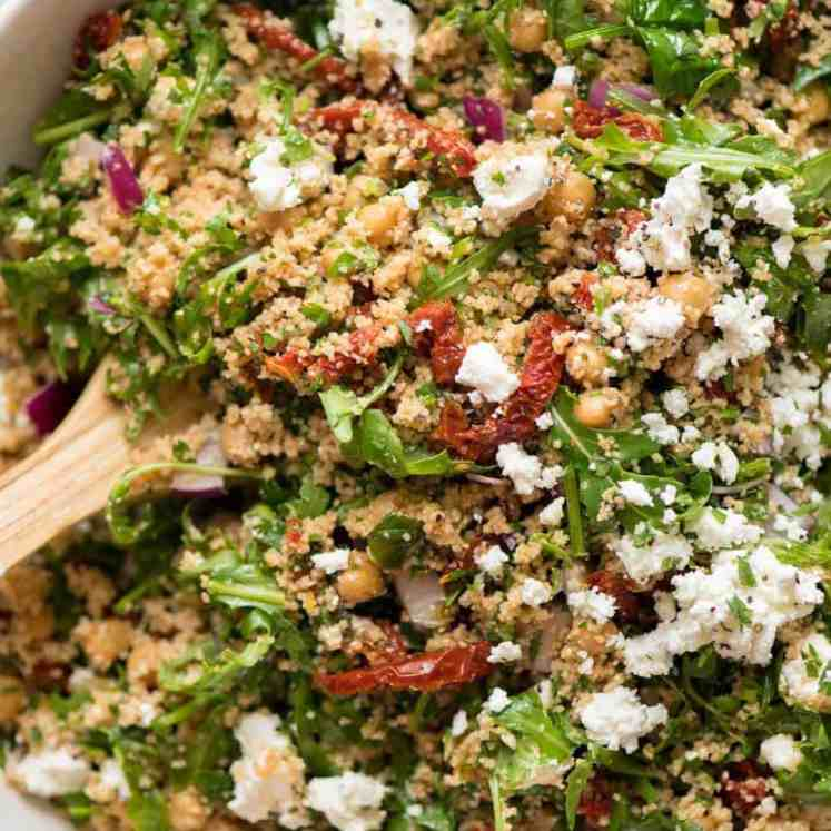 A 12 minute giant no-cook couscous salad with feta and sun dried tomatoes. A terrific side or satisfying lunch - and it keeps well for days!