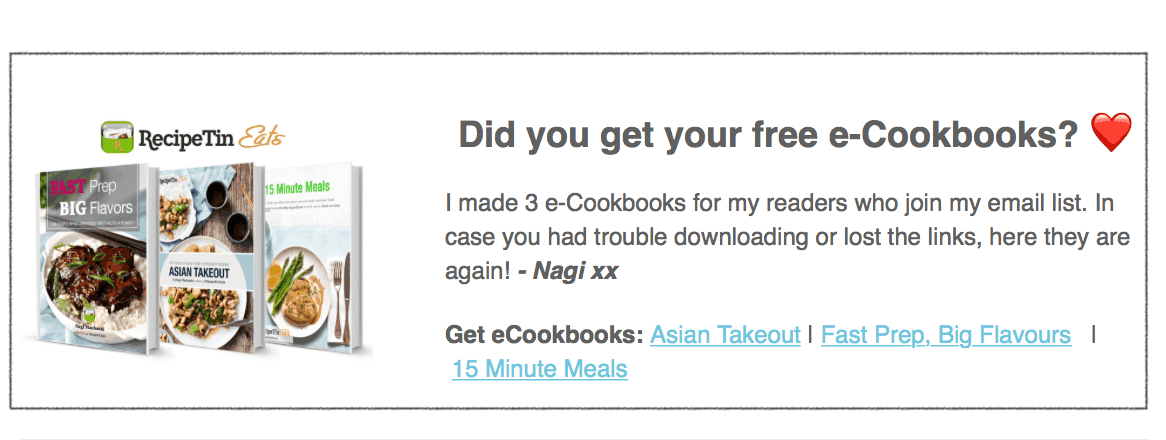 Free eCookbooks download link in email | www.recipetineats.com
