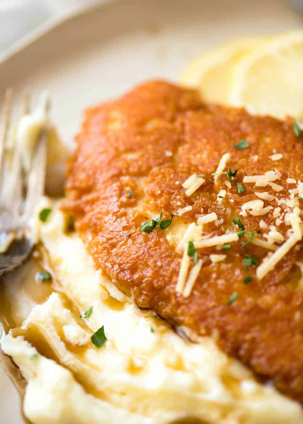 Ultra Crispy Parmesan Crusted Chicken Breast with silky Cauliflower Mash with Browned Butter.