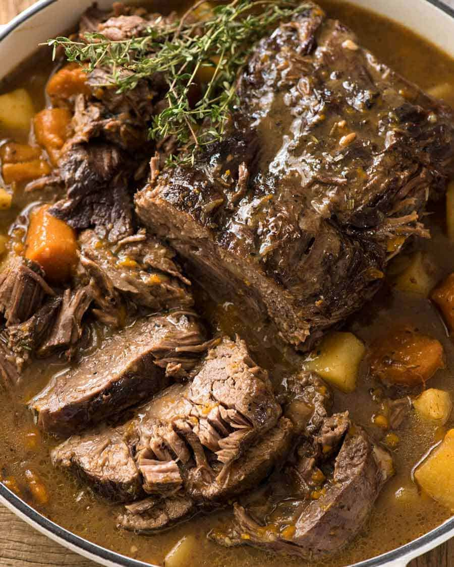 Slow Cooker Beef Pot Roast ready to be served