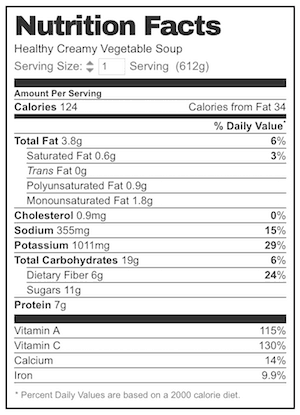 Nutrition per serving assuming 6 servings (about 2 heaped cups one generous sized bowl which is filling).  sc 1 st  RecipeTin Eats & Super Low Cal Healthy Creamy Vegetable Soup | RecipeTin Eats