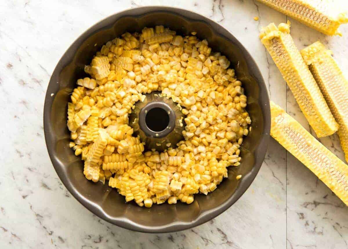 Easy way to cut corn off the cob - use a bundt pan!