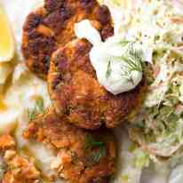 Tender insides studded with flakes of salmon, golden on the outside, these Salmon Patties are baked, not fried. Ultimate transformation of canned salmon - or use fresh! recipetineats.com