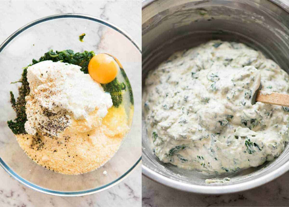 Spinach Ricotta filling for vegetarian lasagna