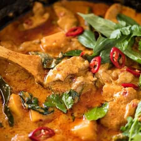 Thai Red Curry with Chicken with a homemade Thai Red Curry Paste. Based on recipes from some fo the most well known Thai Chefs in the world. www.recipetineats.com