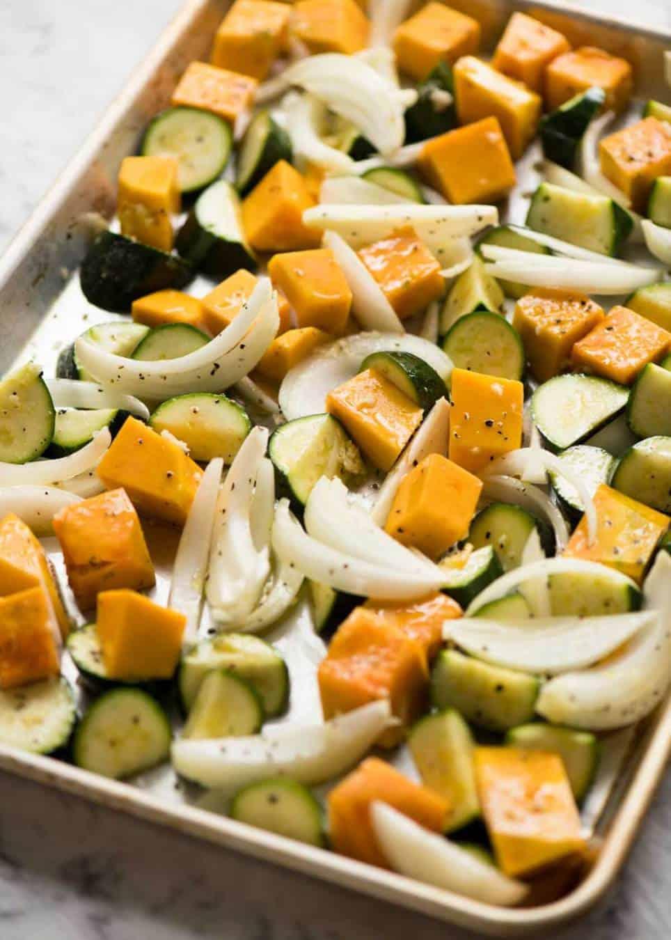 Roasted vegetables for vegetarian lasagna