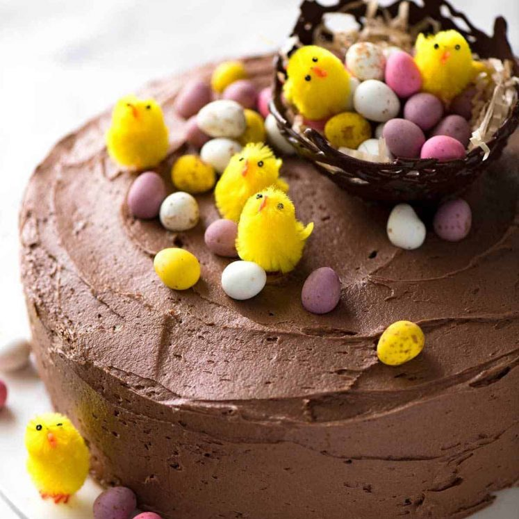 A Chocolate Cake with Buttercream Frosting decorated with small speckled Easter eggs and tiny fluffy yellow chicks.