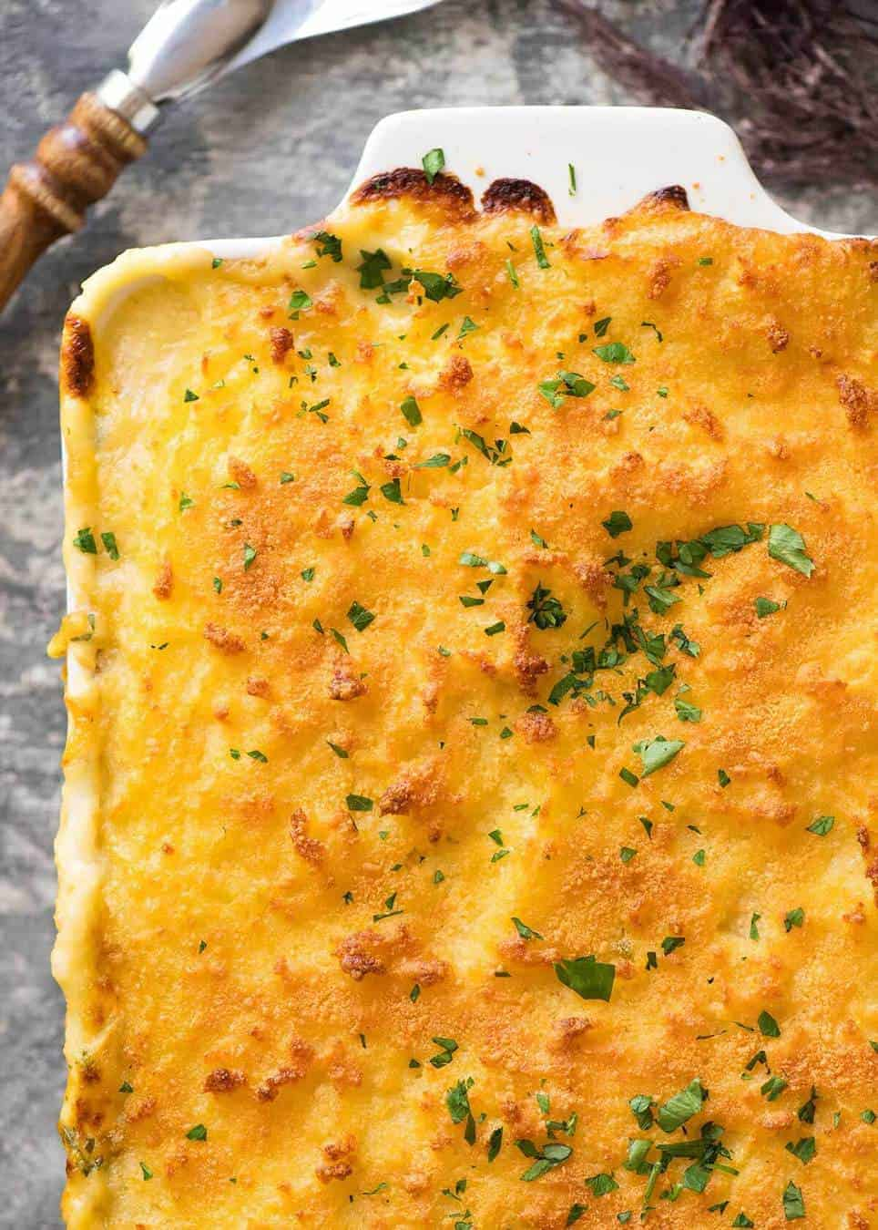 Golden brown crusty mashed potato topping of Fish Pie