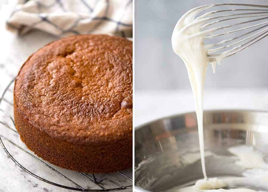 Lemon Cake cooking on a rack and drippy lemon glaze