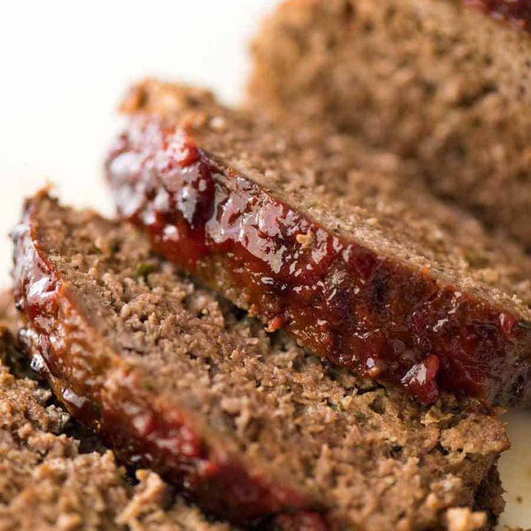 Close up of Meatloaf slices with caramelised glaze