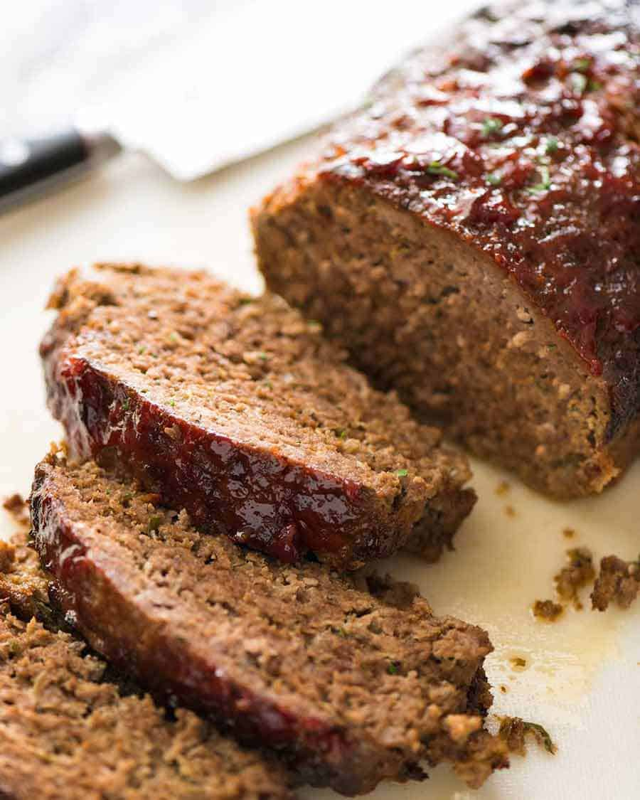 Thick slices of Meatloaf with caramelised glaze
