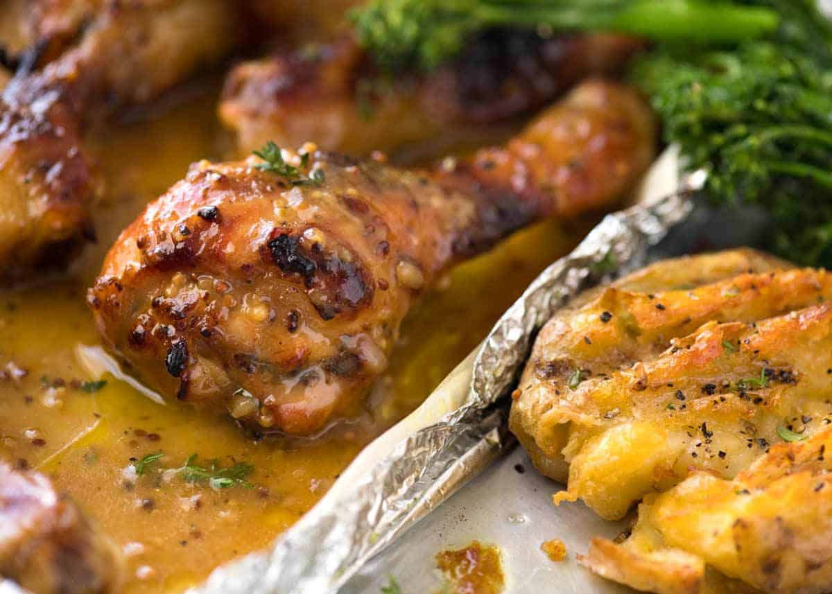 honey mustard baked chicken drumsticks with smashed potatoes recipetin eats. Black Bedroom Furniture Sets. Home Design Ideas