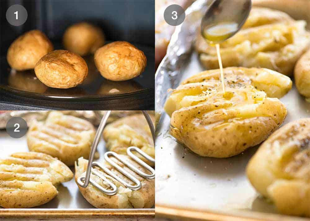 Preparation steps for Crispy Smashed Potatoes