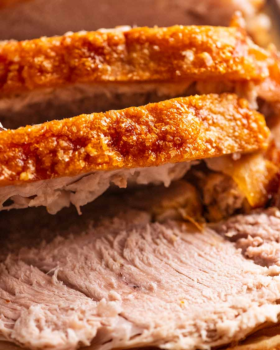 Close up of Pork Roast with Crispy Crackling