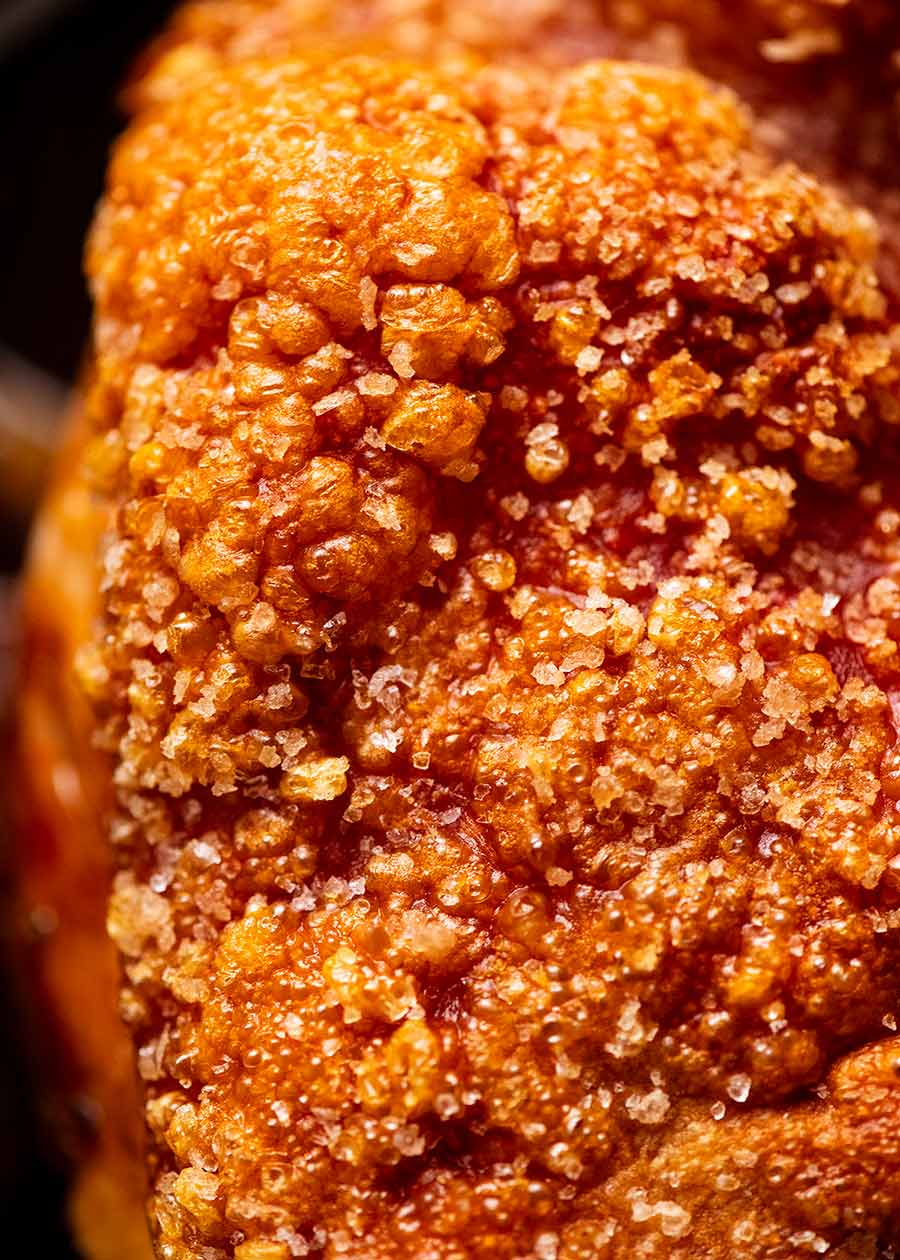 Close up of bubbly crispy pork crackle