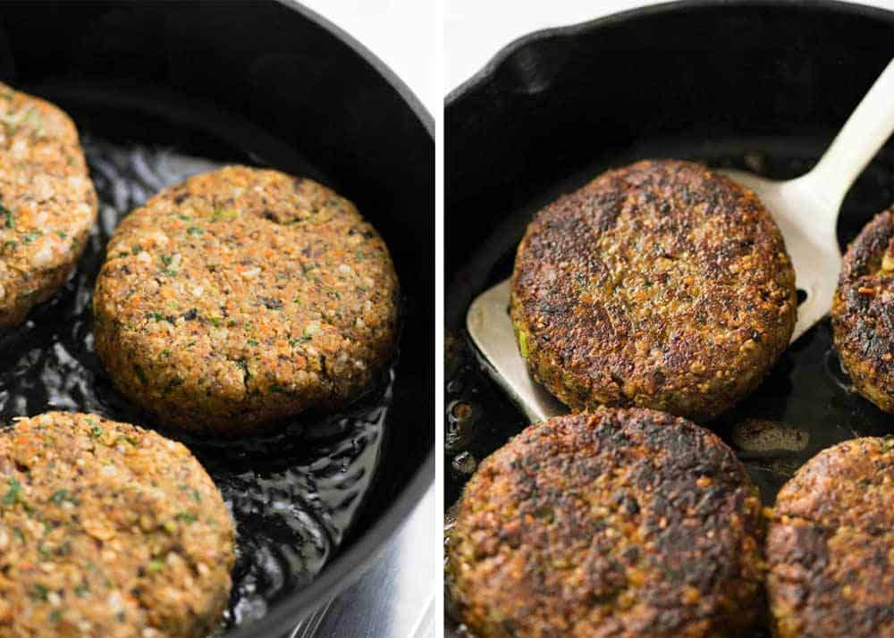 Veggie Burgers being cooked in a skillet