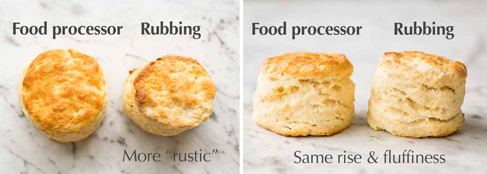 Comparison of scones made using a food processor vs rubbing butter in with fingers