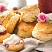 Pile of fluffy, freshly made scones